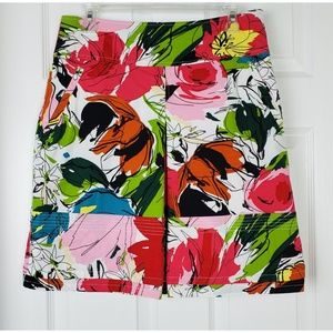 Etcetera floral print side pockets skirt size 6
